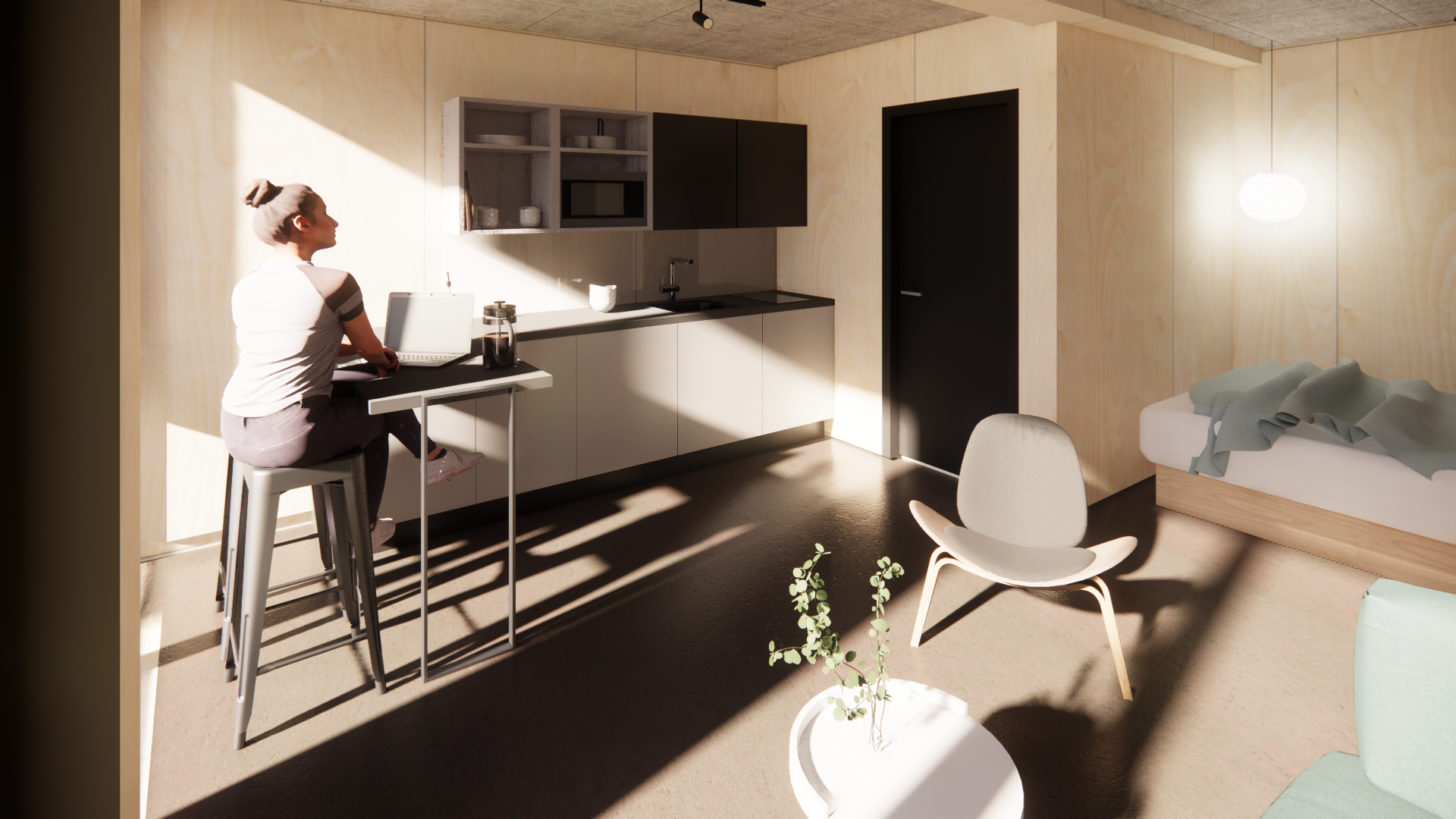 Visualisering 30 m2 lejlighed Musicon | Container Living