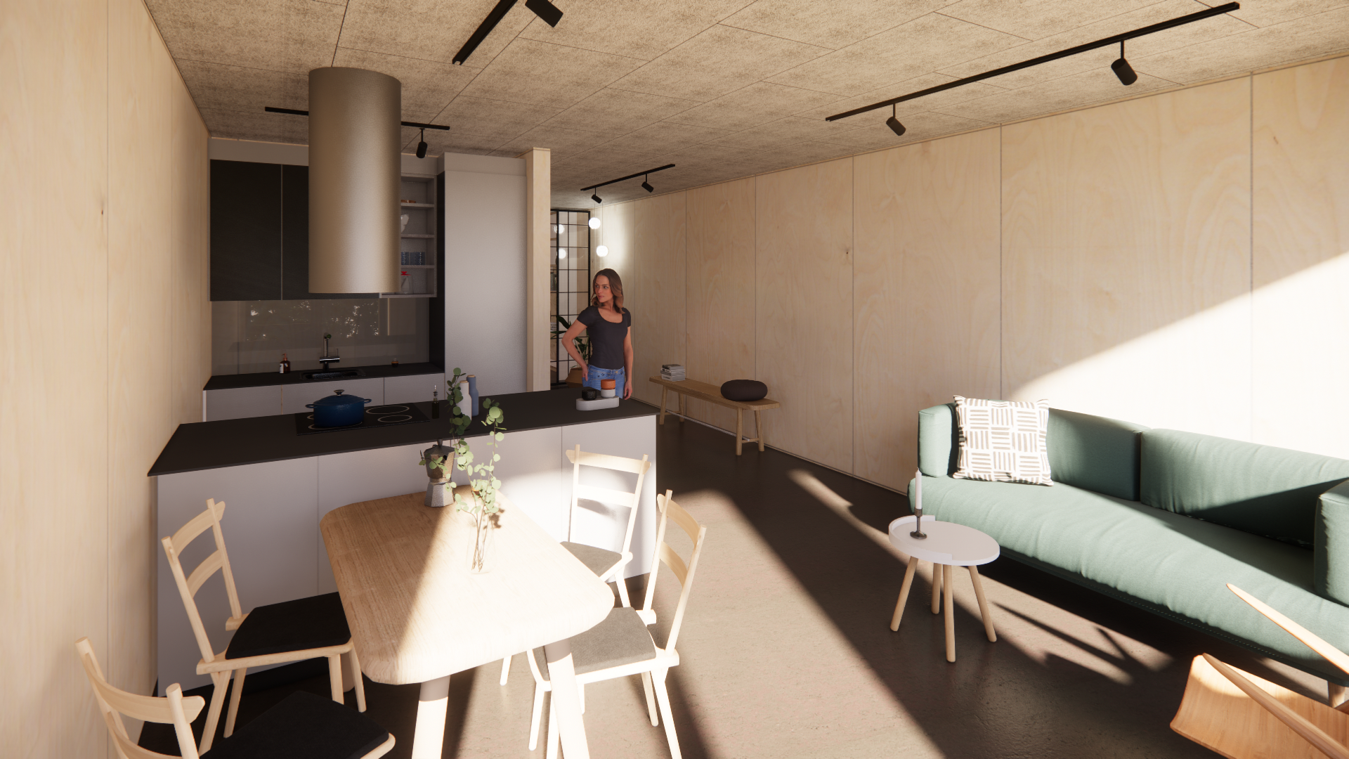 Visualisering køkken 60 m2 lejlighed Musicon | Container Living