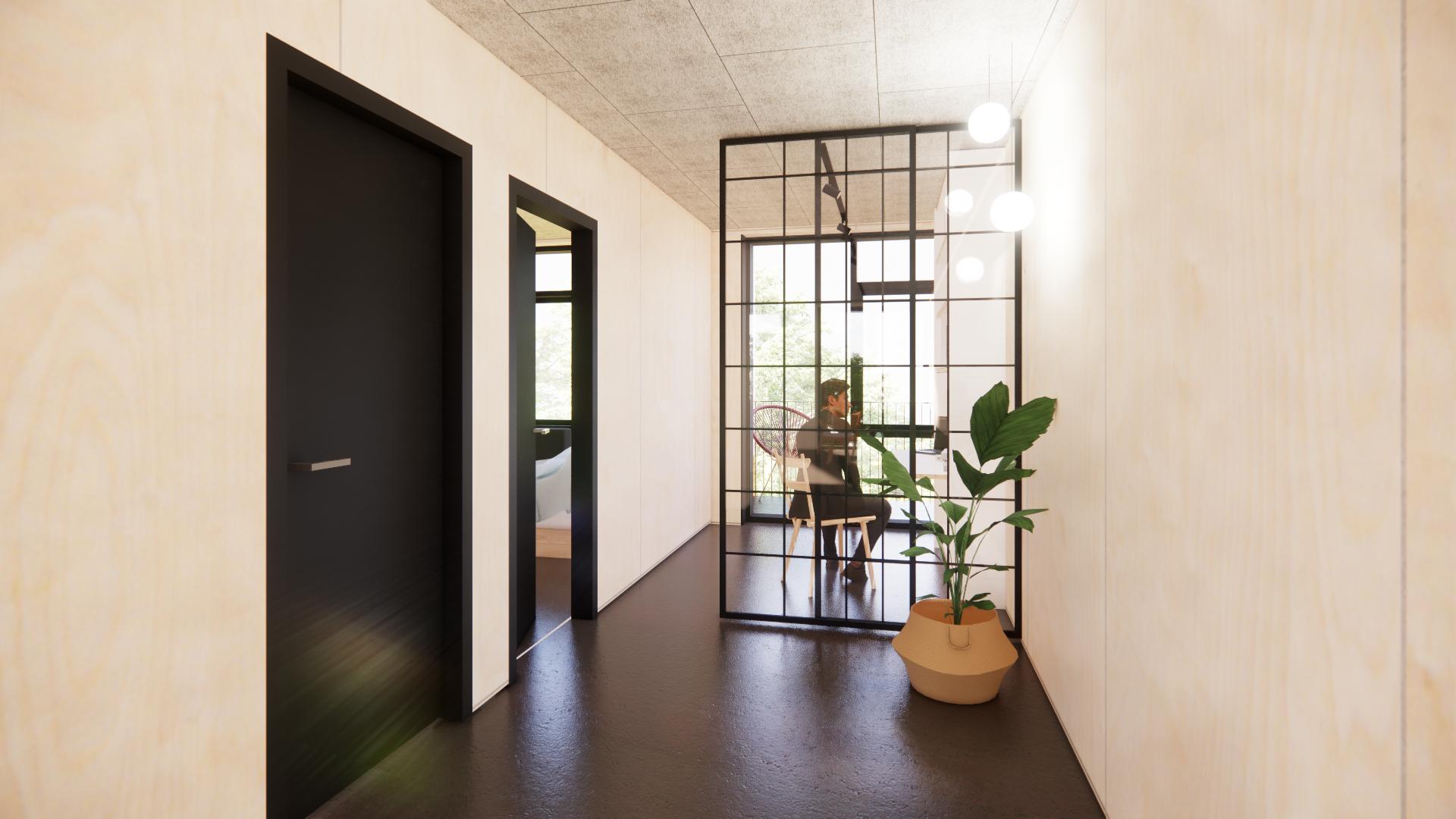 Visualisering værelse 60 m2 lejlighed Musicon | Container Living
